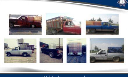 La SSP decomisó diverso vehículos y 7 mil litros de combustible
