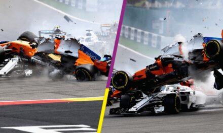 El impactante choque de Fernando Alonso en el arranque del GP de Bélgica