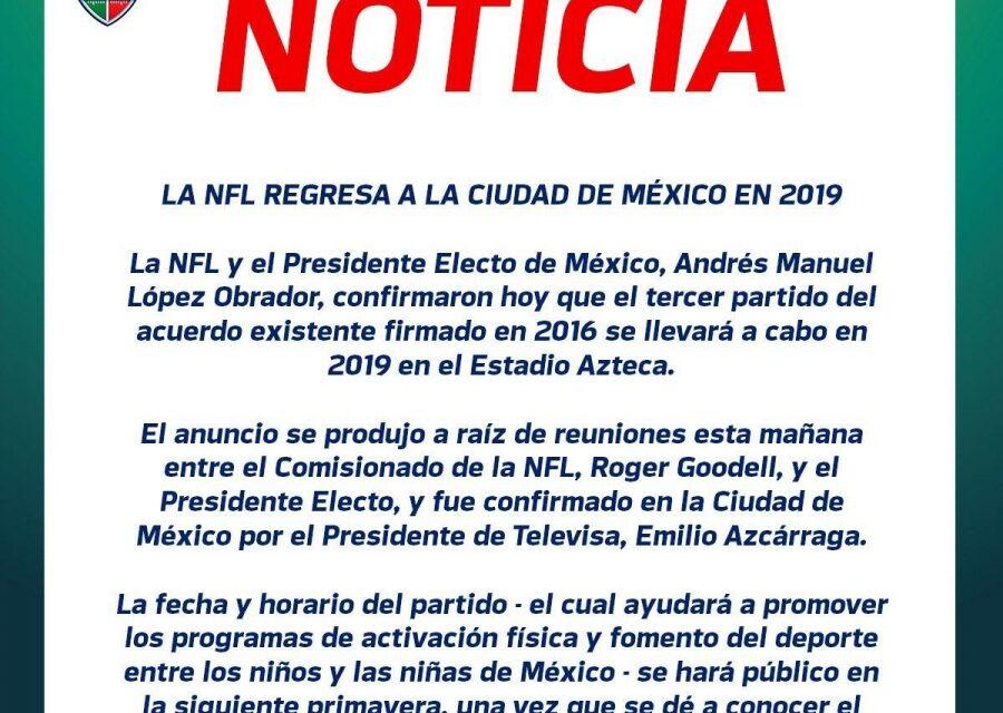 Confirmado. La NFL regresa a México