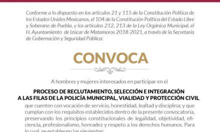 Reclutarán elementos para Policía  Municipal, Vialidad y Protección Civil