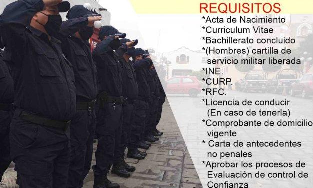 Abren convocatoria para integrarse a la policía municipal de Huaquechula