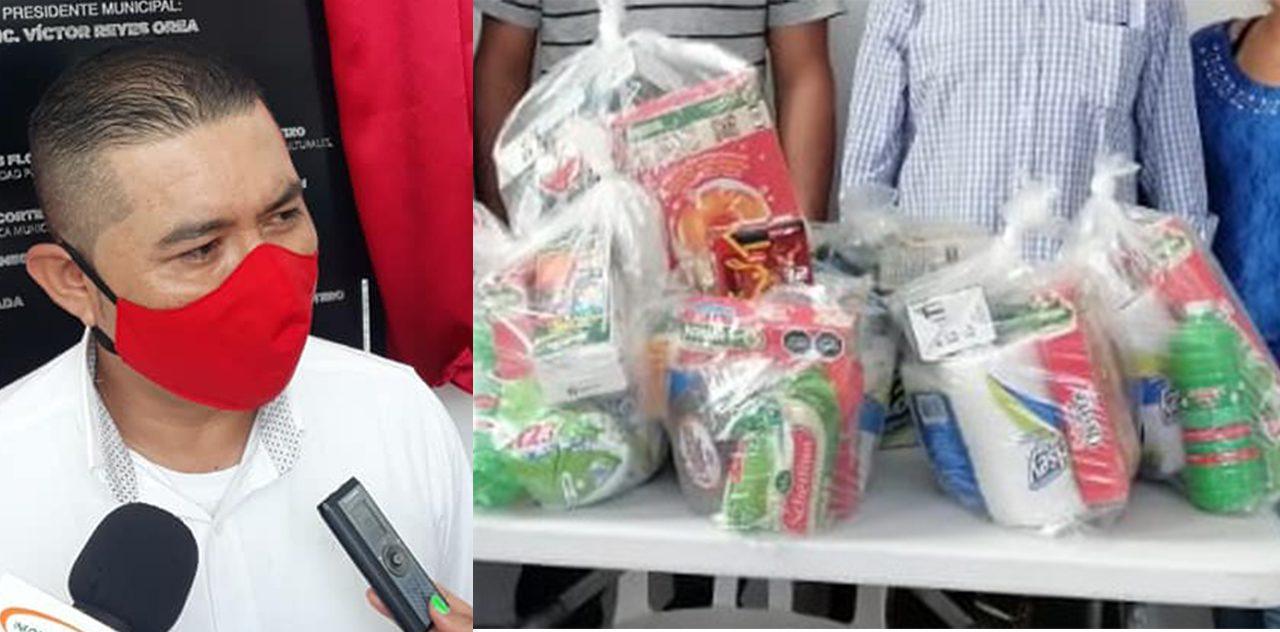 Edil de Tilapa entrega despensas a integrantes de una ronda