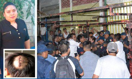 Pide apoyo económico policía lesionada en enfrentamiento con comerciante en el 2017