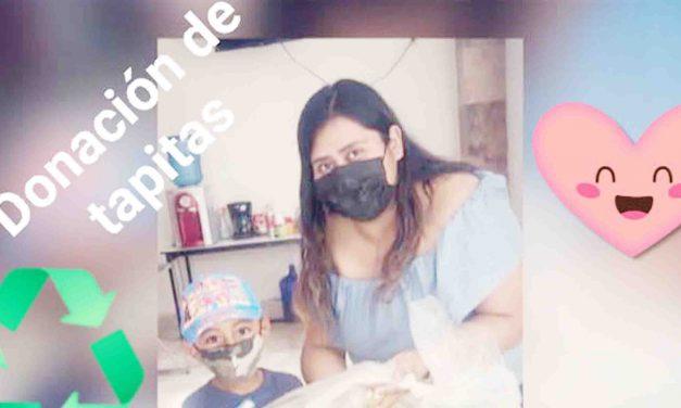 Con donación de tapitas, niño se suma a la lucha contra el cáncer