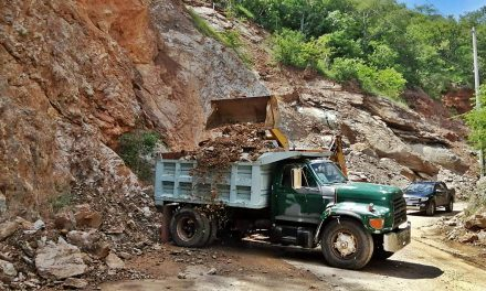 Tras derrumbe, liberan tramo carretero en Axutla